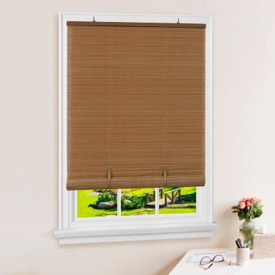 Solstice Woodtone Cordless Light Filtering Vinyl Roll-Up Blind with 1/4 in. Oval Slats 36 in. W x 72 in. L