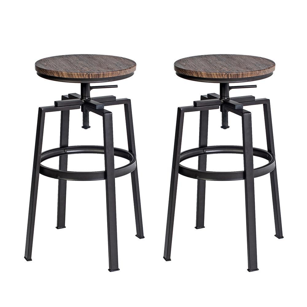 2-Pack FurnitureR Industrial Style Adjustable-Height Swivel Bar Stool