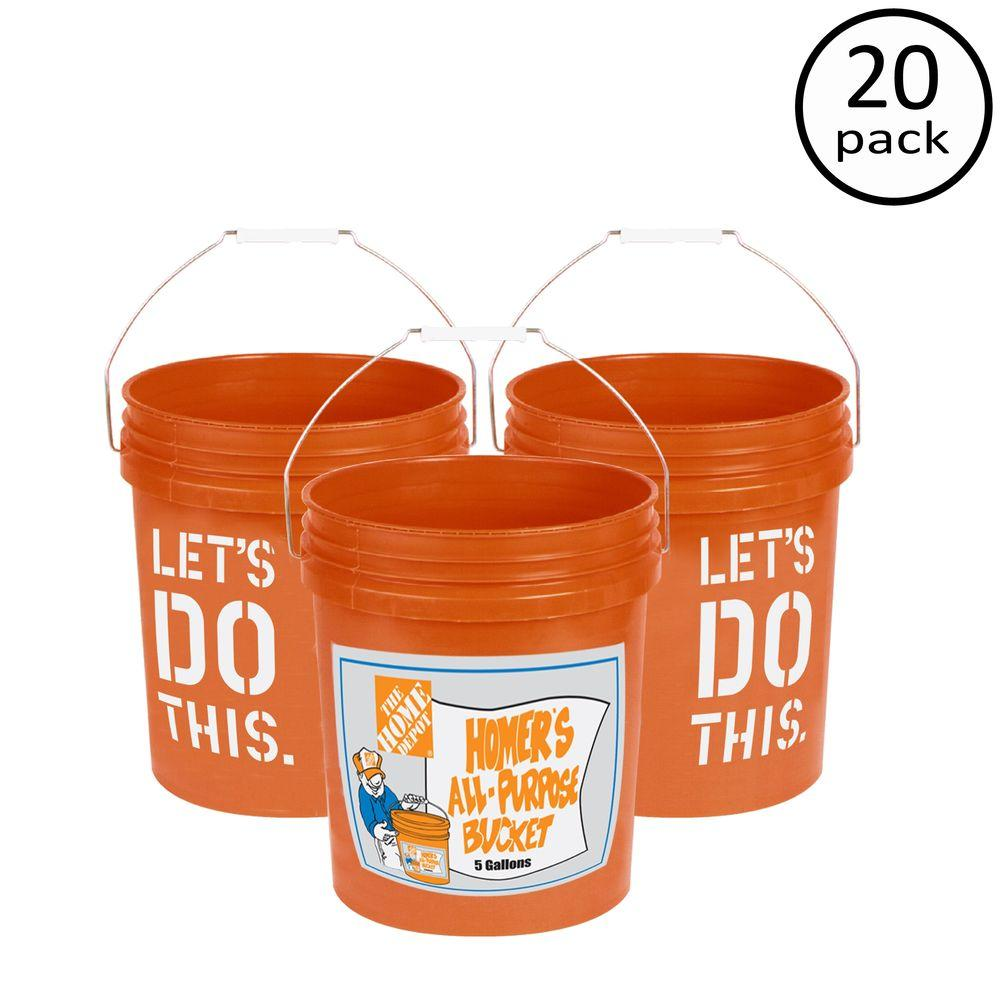 5 gal  Homer Bucket  20 Pack. Paint Buckets   Lids   Paint Buckets   Trays   The Home Depot