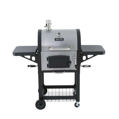 Heavy-Duty Charcoal Grill in Black and Stainless Steel
