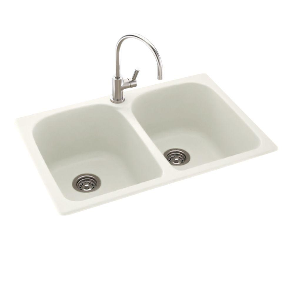 null Dual Mount Composite 33 in. 1-Hole Double Bowl Kitchen Sink in Bisque
