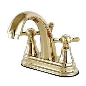 Kingston brass english cross 4 in centerset 2 handle high arc bathroom faucet in polished brass for Polished brass high arc bathroom faucet