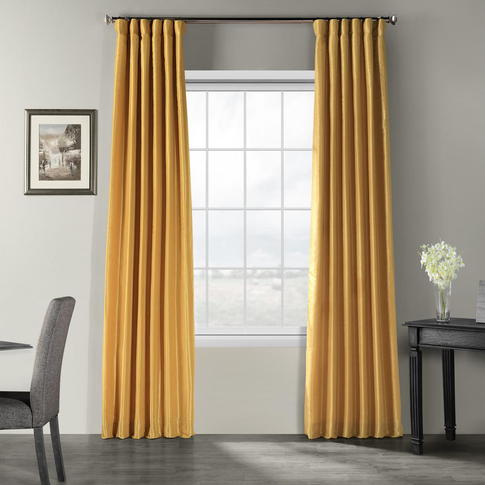Exclusive Fabrics & Furnishings Allegro Gold Vintage Textured Faux Dupioni Silk Light Filtering Curtain - 50 in. W x 108 in. L