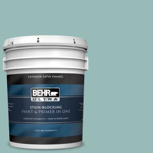 Behr Ultra 5 Gal Ppu12 06 Lap Pool Blue Satin Enamel Exterior Paint And Primer In One 985405 The Home Depot