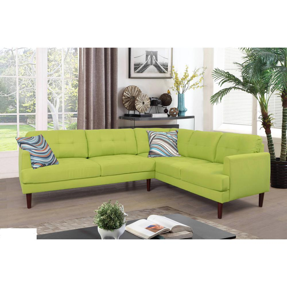 Green tufted sectional sofa set 2 piece sh5004a the home depot