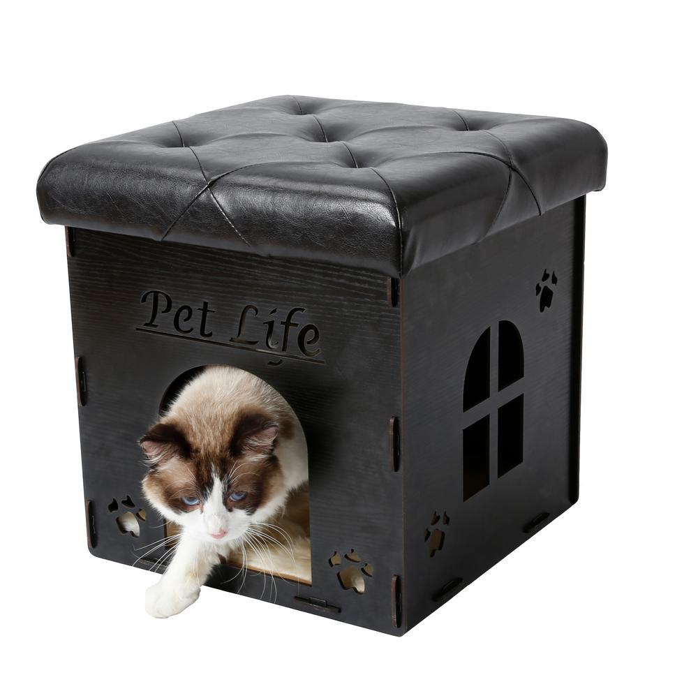 Black Foldaway Collapsible Designer Cat House Furniture Bench