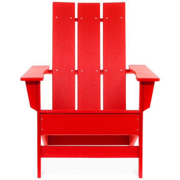 Aria Bright Red Recycled Plastic Modern Adirondack Chair