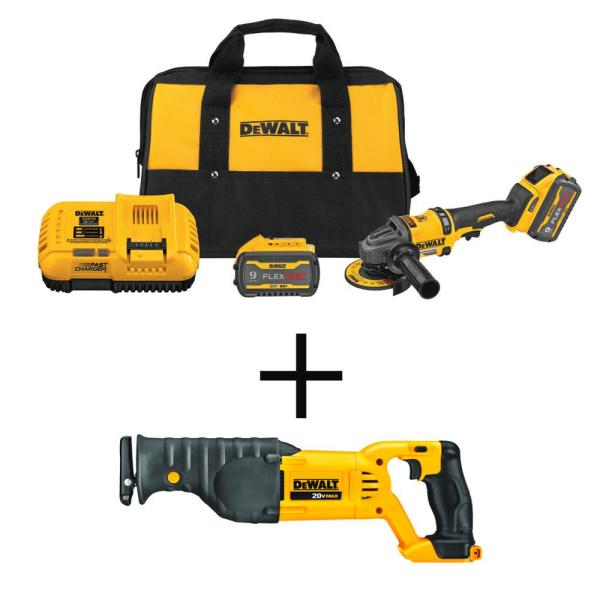 FLEXVOLT 60-Volt MAX Li-Ion Cordless 4-1/2 in. to 6 in. Small Angle Grinder with 20-Volt Cordless Recip Saw (Tool-Only)