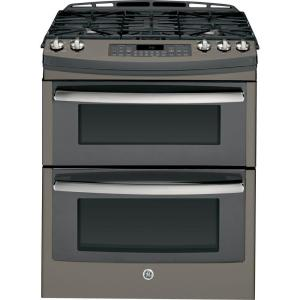 GE Profile 6.8 cu. ft. Double Oven Gas Range with Self-Cleaning Convection Oven in Slate, Fingerprint Resistant by GE