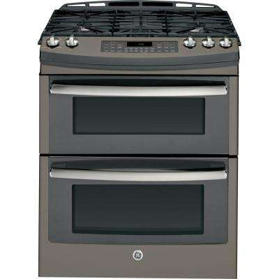 6.8 cu. ft. Double Oven Gas Range with Self-Cleaning Convection Oven in Slate, Fingerprint Resistant