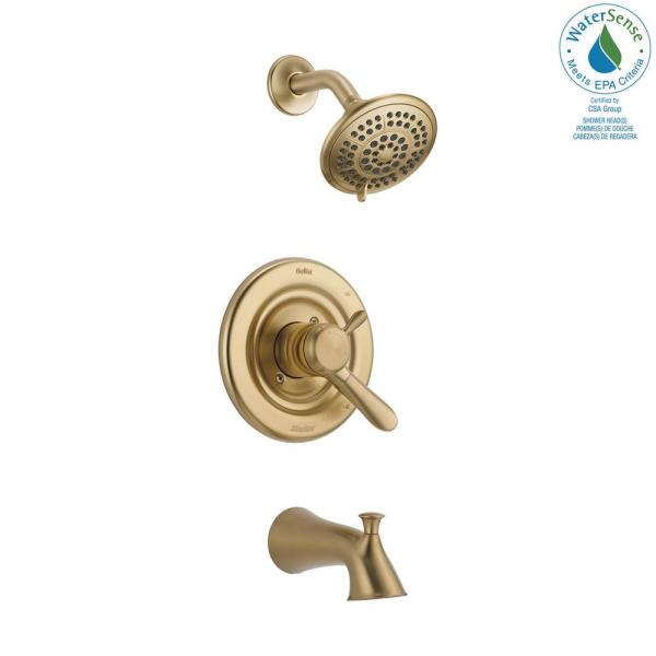 Delta - Lahara 1-Handle Tub and Shower Faucet Trim Kit in Champagne Bronze (Valve Not Included)