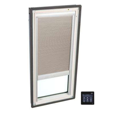 21 in. x 26-7/8 in. Fixed Deck-Mount Skylight with Tempered Low-E3 Glass and Beige Solar Powered Room Darkening Blind