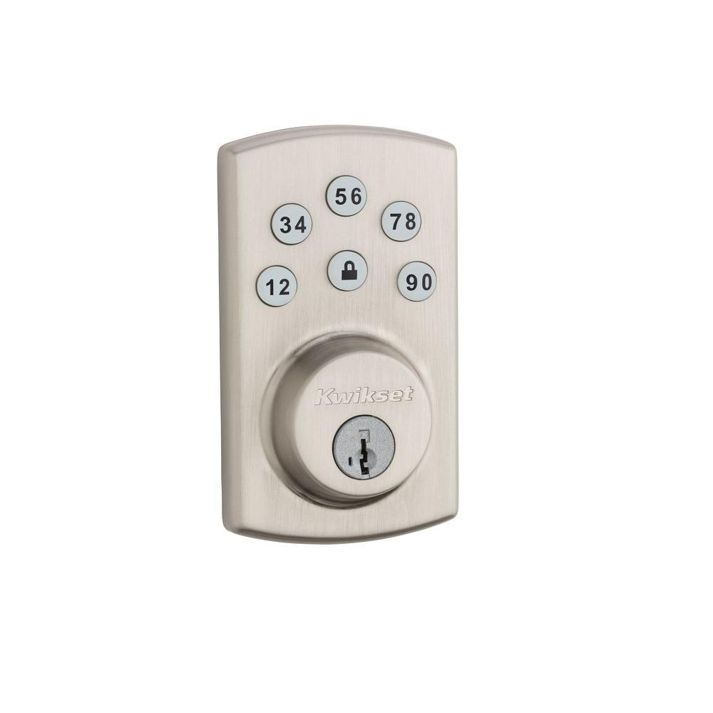 Powerbolt2 Satin Nickel Single Cylinder Electronic Deadbolt featuring SmartKey