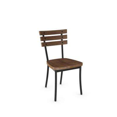 Dock Semi-Transparent with Medium Brown Wood Seat Dining Chair (Set of 2)