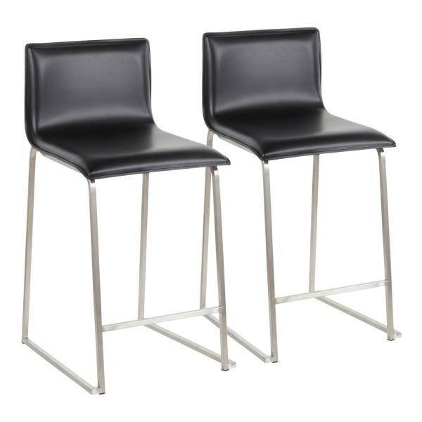 Mara 26 in. Black Faux Leather and Stainless Steel Counter Stool (Set of 2)