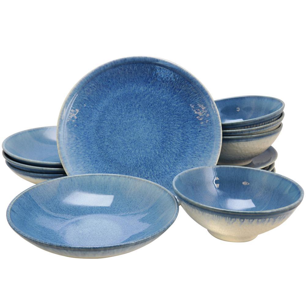 Ombré Blue 12-Piece Blue Double Bowl Dinnerware Set