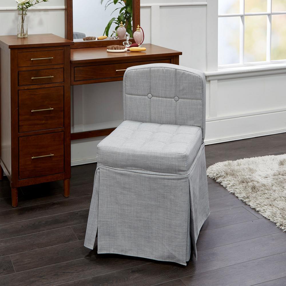 Sally Grey Swivel Cushioned Vanity Chair