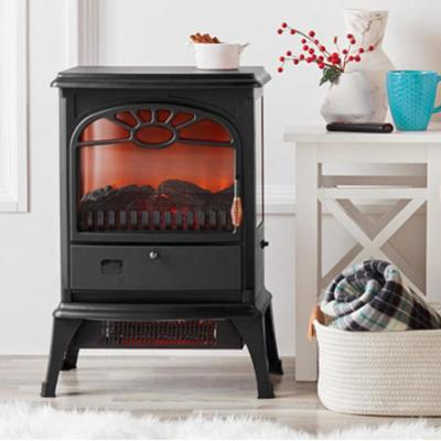17 in. W Freestanding 3-Sided Dual Element Infrared Stove Electric Fireplace with Flip Down Door and Remote