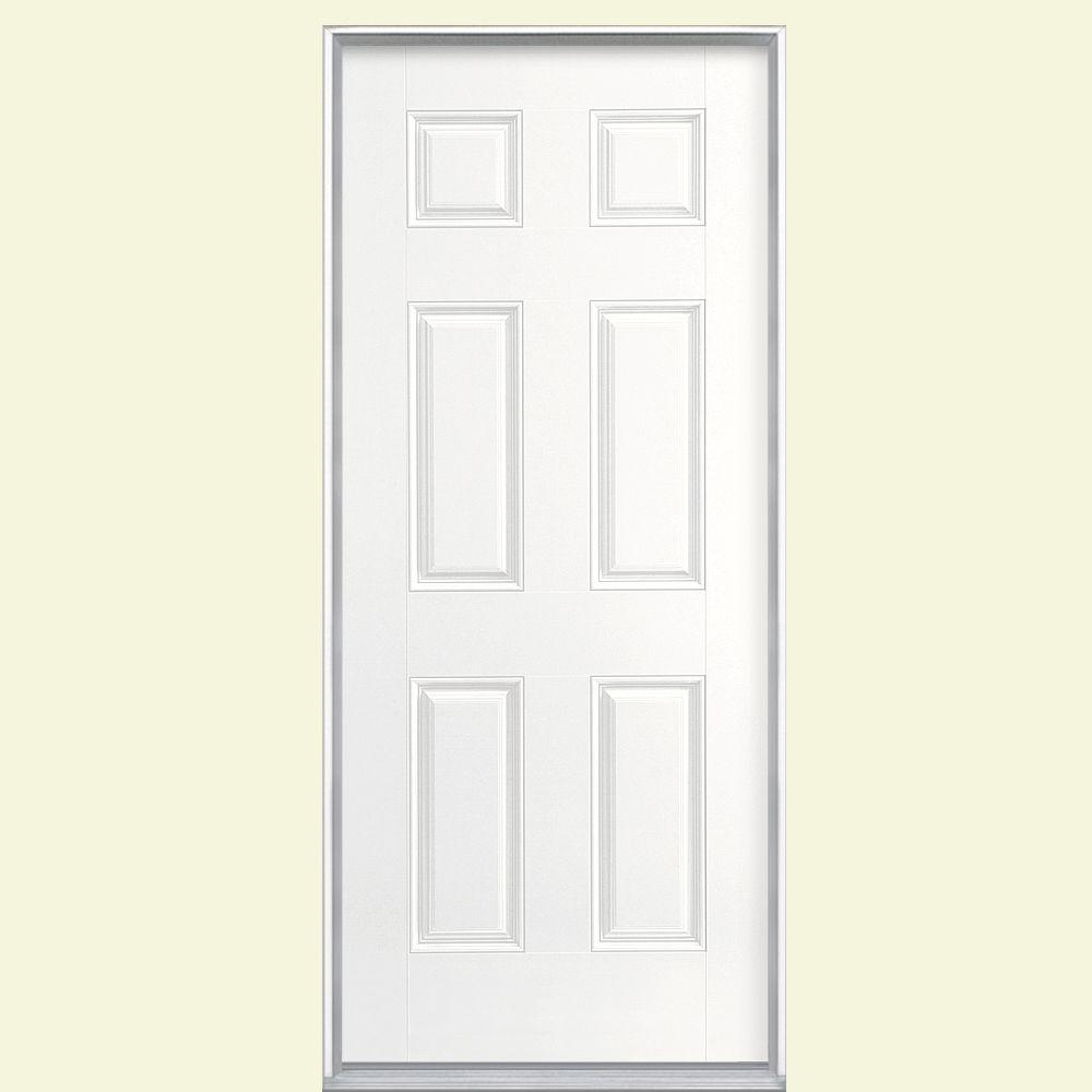 Masonite 36 in. x 80 in. 6-Panel Left Hand Inswing Painted Smooth Fiberglass Prehung Front Door No Brickmold, Ultra Pure White