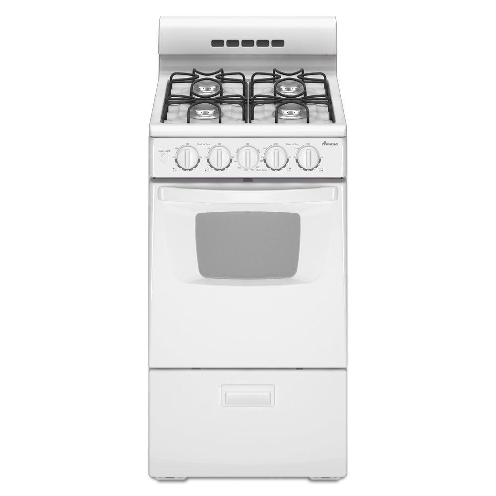 Amana 20 in. 2.6 cu. ft. Gas Range in White Sized just right for small spaces, this Amana 2.6 cu. ft. gas range also offers contemporary style. The sealed gas burners, two 7000-BTU and two 9500-BTU, include electronic ignition. Plus, an oven light and oven window make it easy to check on your food. Color: White.