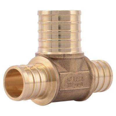 3/4 in. x 3/4 in. x 1 in. PEX Barb Brass Bullnose Tee Fitting