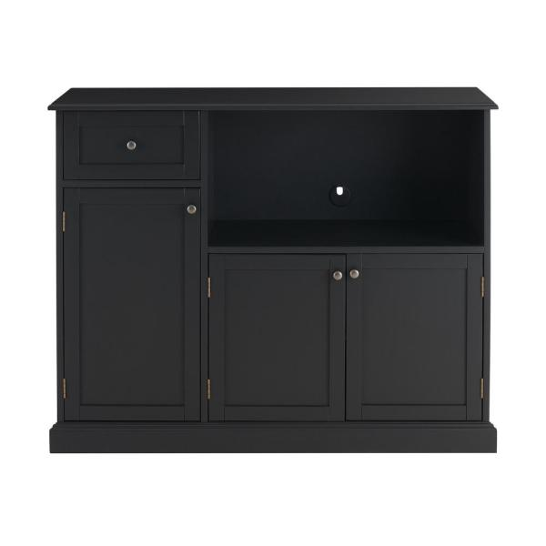 StyleWell StyleWell Black Wood Transitional Kitchen Pantry with Pull-Out Shelf (42 in. W x 36 in. H)