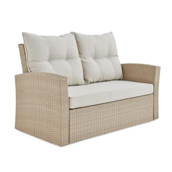 Canaan Beige All-Weather Wicker Outdoor Loveseat with Cream Cushions