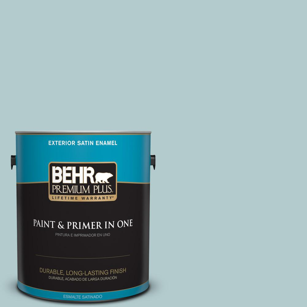1 gal. #PPU13-15 Clear Pond Satin Enamel Exterior Paint