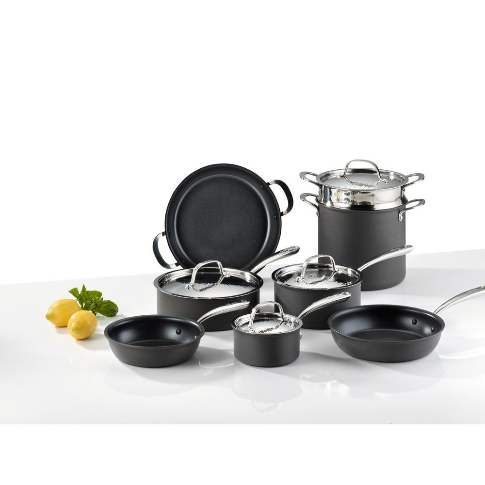 Lagostina Nera 12-Piece Hard Anodized Aluminum Cookware Set H904SC64