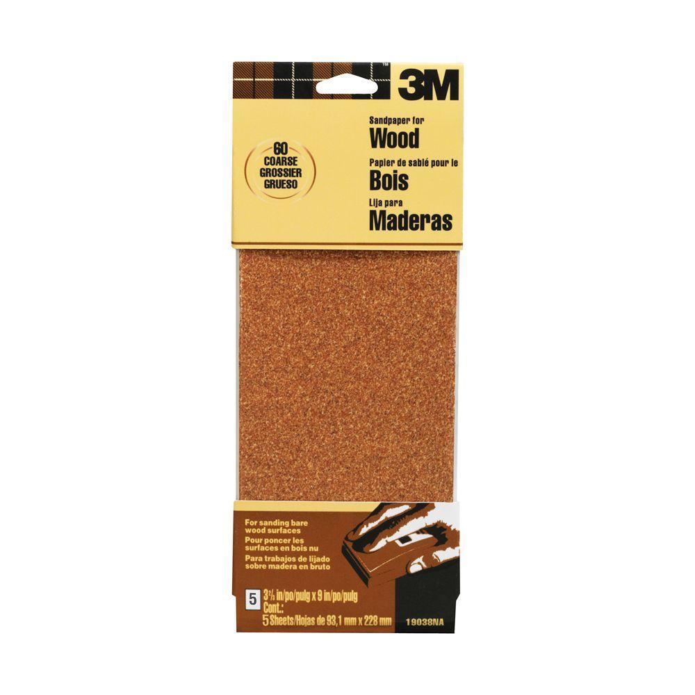 3M Garnet 3-2/3 in. x 9 in. 60 Grit Coarse Grade  Sandpaper (5-Sheets/Pack)