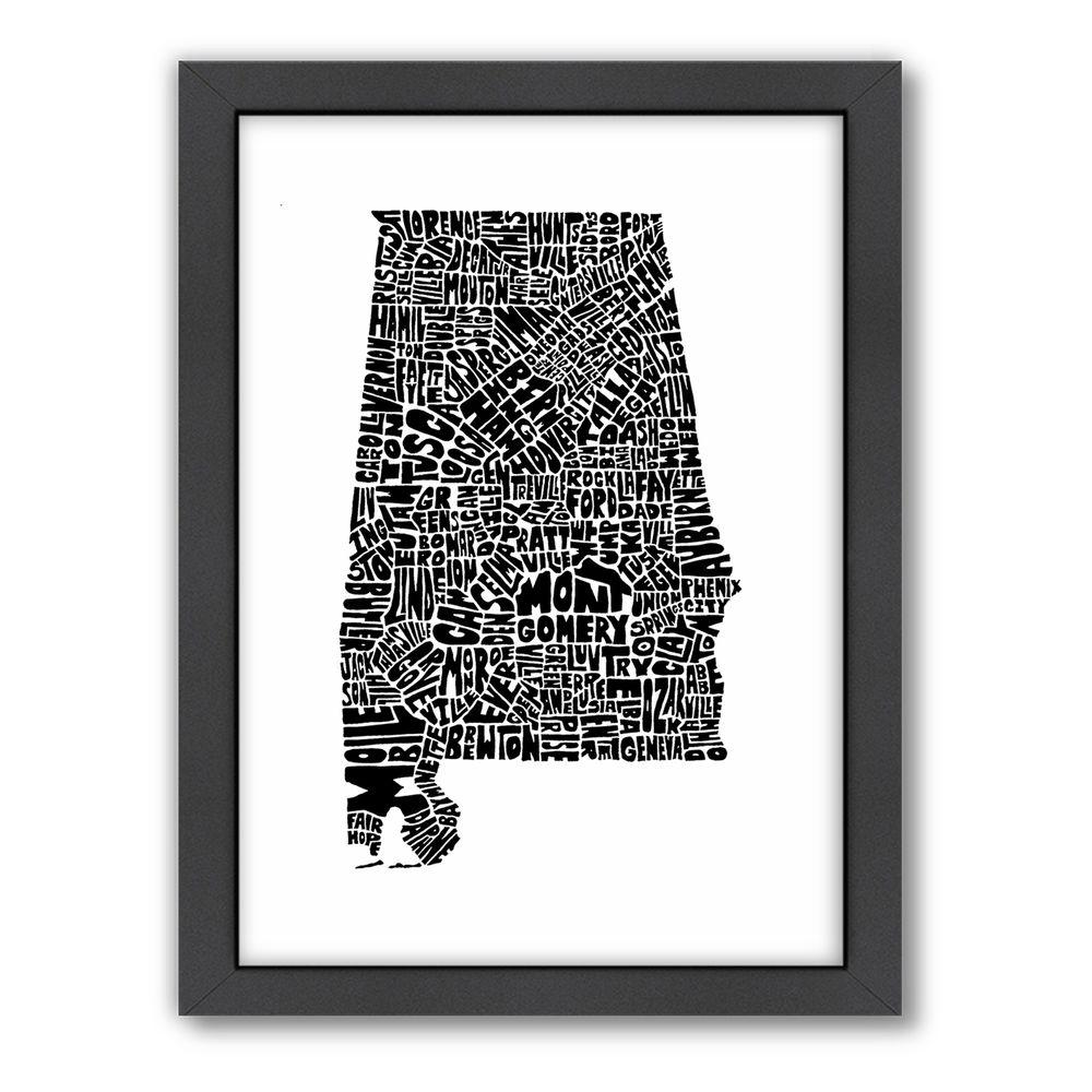 "Americanflat 27 in. x 21 in. ""Alabama"" by Joe Brewton Framed Wall Art"