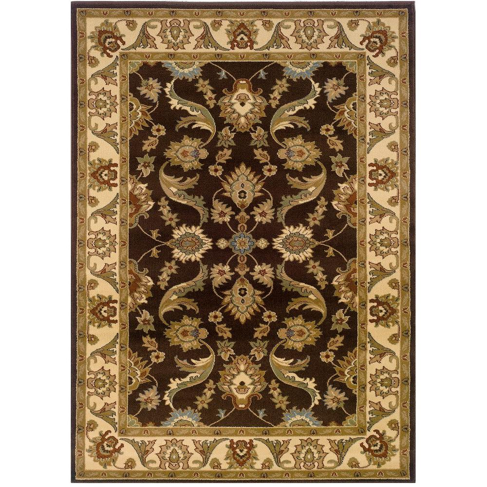LR Resources Adana Brown/Cream Accent 1 ft. 10 in. x 2 ft. 10 in. Plush Indoor Rug