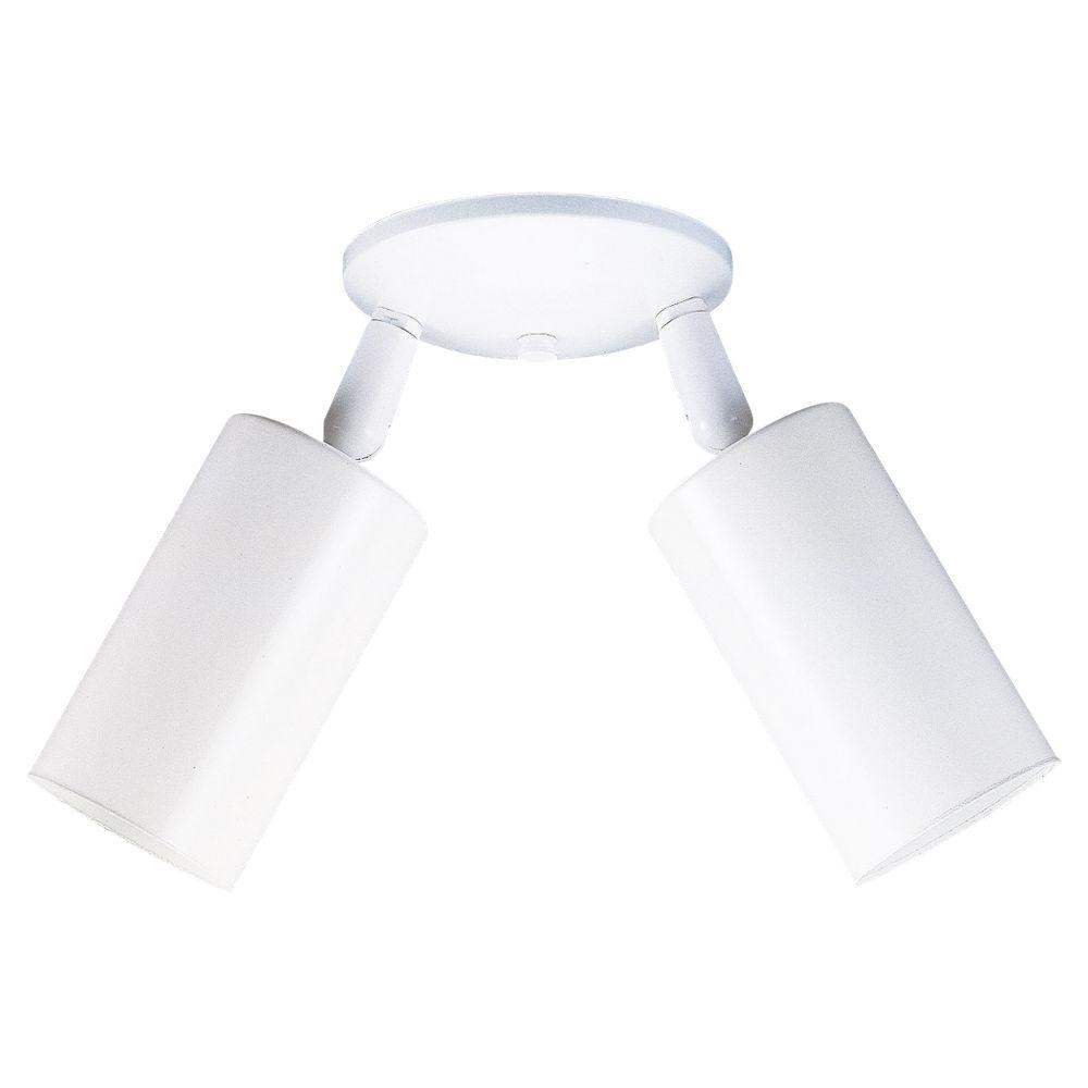 Sea Gull Lighting Bullets 2-Light Directional White Flush Mount fixture-DISCONTINUED