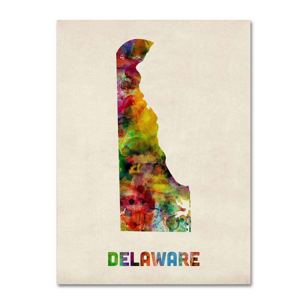 24 in. x 32 in. Delaware Map Canvas Art