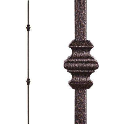 Versatile 44 in. x 0.5 in. Copper Vein Double Knuckle Hollow Wrought Iron Baluster