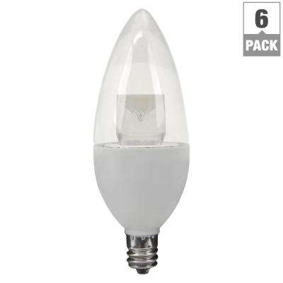 15W Equivalent Soft White (2700K) B10 Candelabra Non-Dimmable LED Light Bulb (6-Pack)