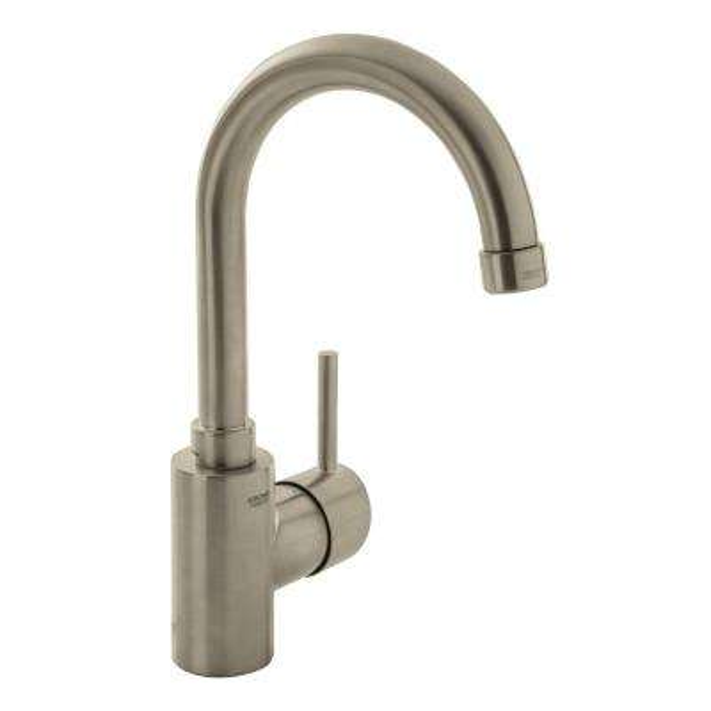 Concetto Single Hole Single-Handle High-Arc Bathroom Faucet in Nickel InfinityFinish