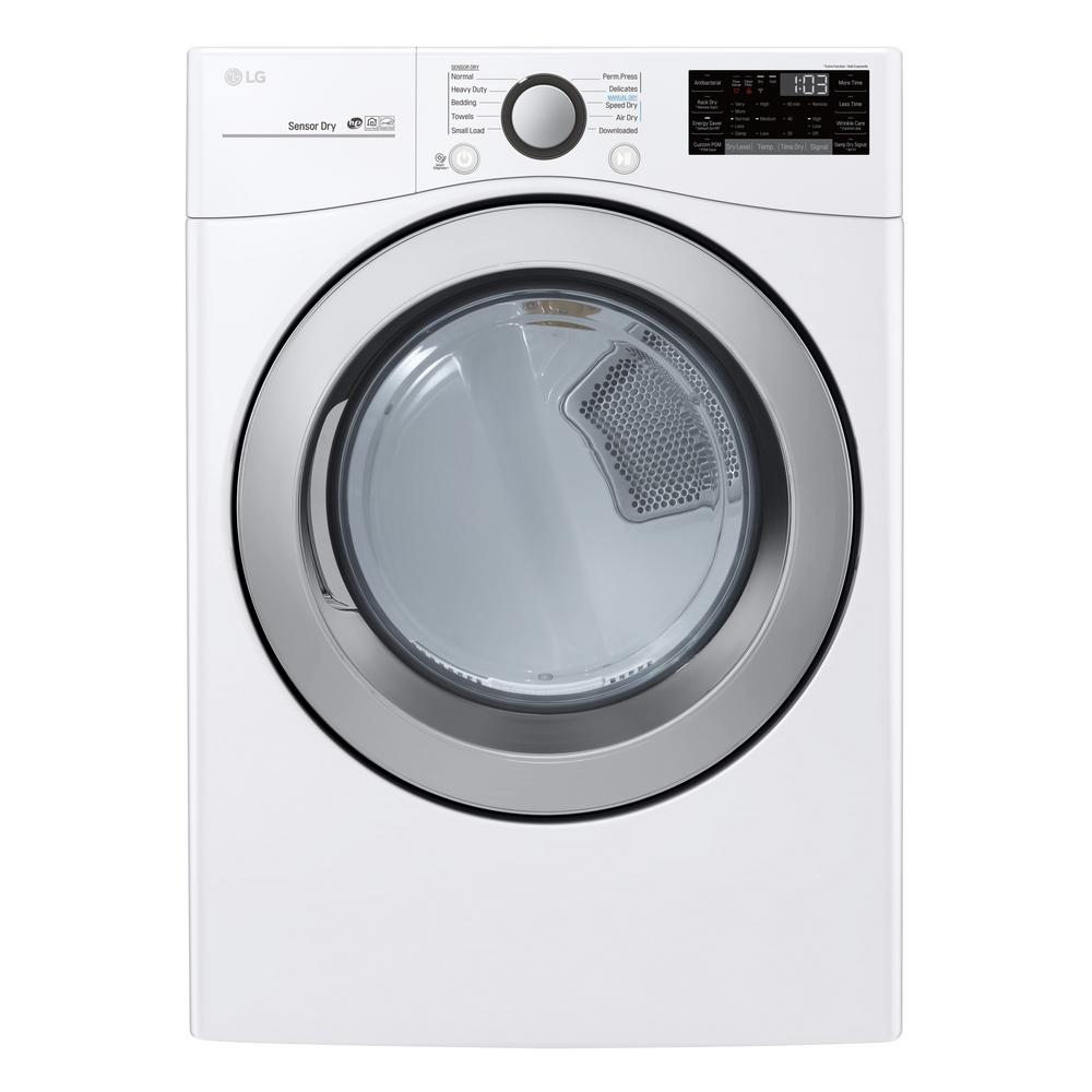 LG Electronics 7 4 cu ft  Ultra Large Capacity Electric Dryer with Sensor  Dry, and Wi-Fi Connectivity in White