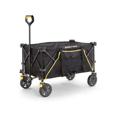 7 Cu. Ft. Collapsible Folding Outdoor Utility Wagon with Oversized Bed, Black