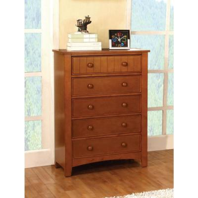 Omnus 5-Drawers Oak Transitional Style Chest