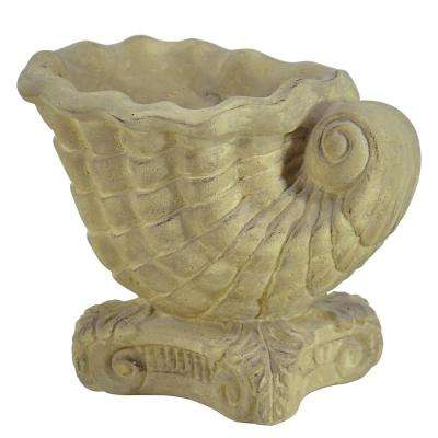 10 in. H Cast Stone Shell Aged Limestone Planter