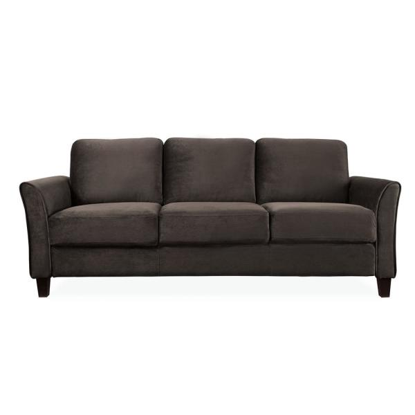 Wesley Microfiber Sofa With Curved Arms