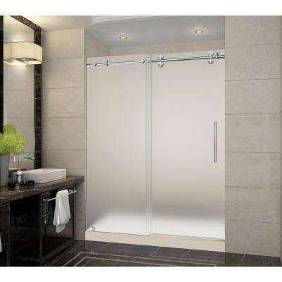 Langham 60 in. x 32 in. x 77.5 in. Frameless Sliding Shower Door with Frosted in Stainless Steel with Center Base