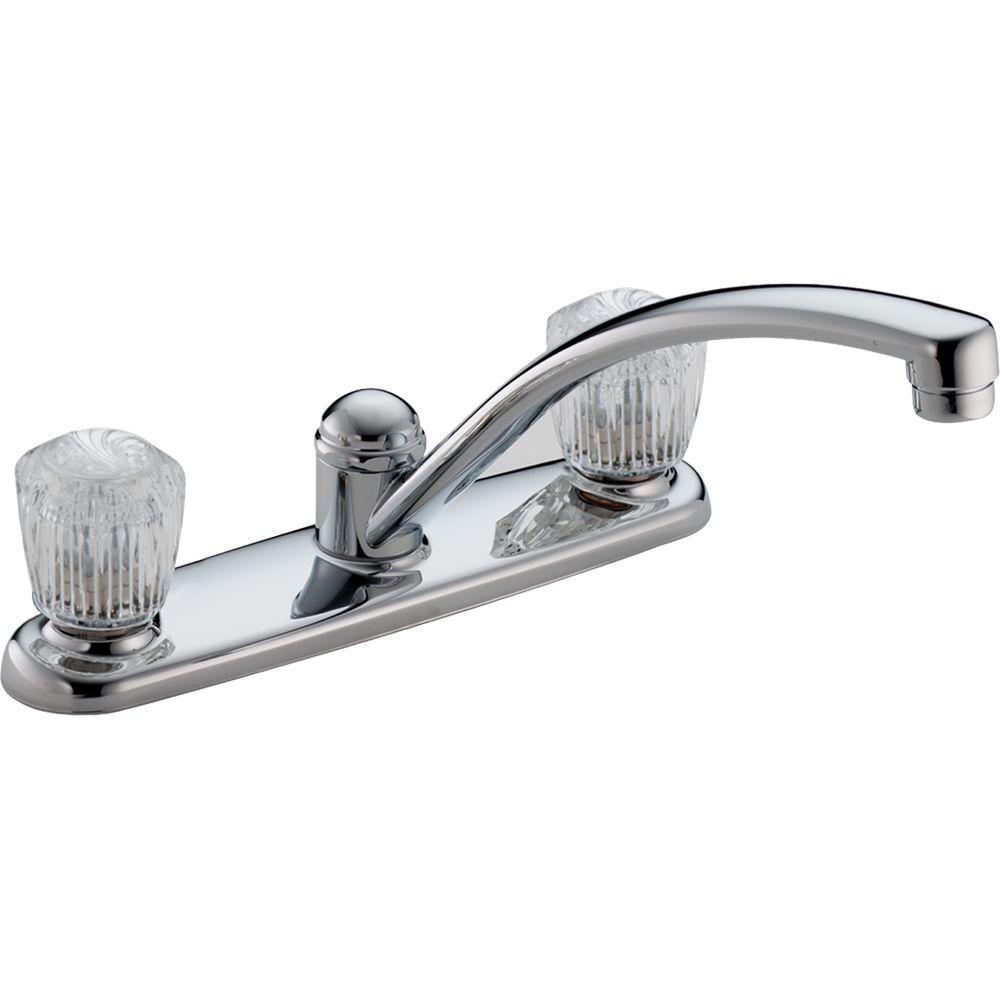 Delta Classic 2 Handle Standard Kitchen Faucet In Chrome