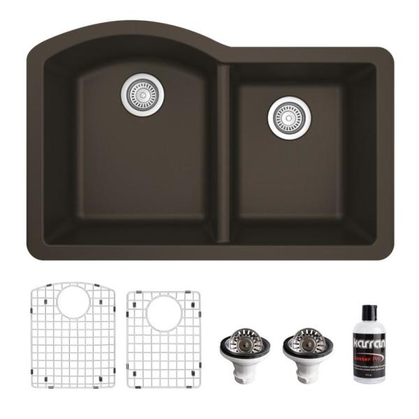 QU-610 Quartz/Granite Composite 32 in. Double Bowl 60/40 Undermount Kitchen Sink with Grids & Basket Strainers in Brown