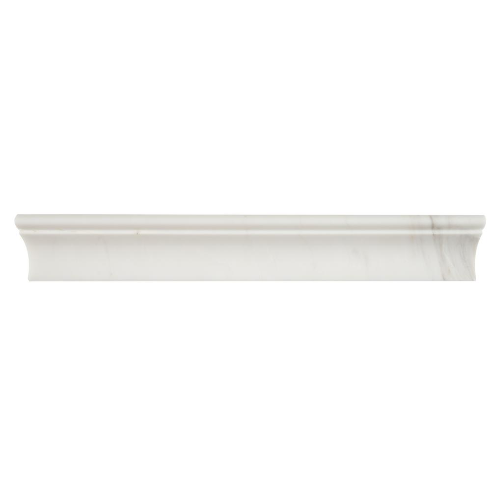 MSI Bianco Dolomite Cornice Molding 2 in. x 12 in. Polished Marble Wall Tile (10 lin. ft. / case)
