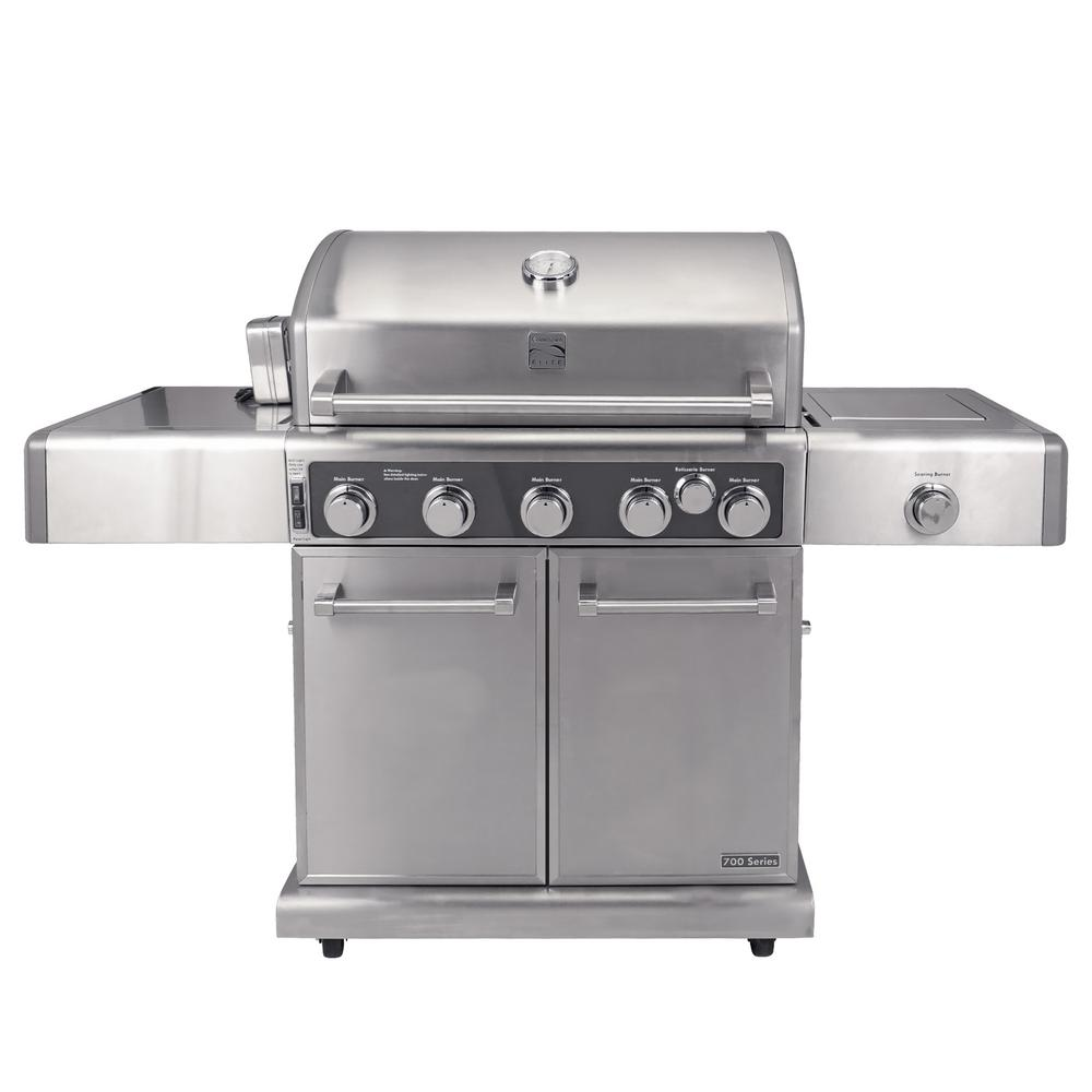 KENMORE ELITE Kenmore Elite 5 Burner Propane Gas Grill in Stainless Steel Color with Rotisserie Kit