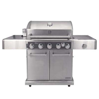 Kenmore Elite 5 Burner Propane Gas Grill in Stainless Steel Color with Rotisserie Kit