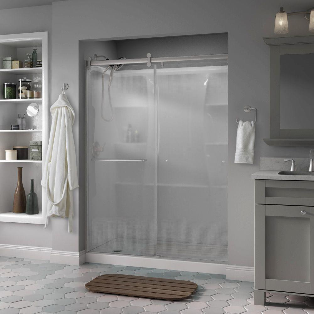 Simplicity 60 in. x 71 in. Semi-Frameless Contemporary Style Sliding Shower