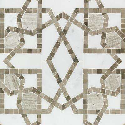 Evermore Brown Patterned 12 in. x 12 in. Marble Mosaic Floor and Wall Tile (1 sheet / 1 sq. ft. / sheet)